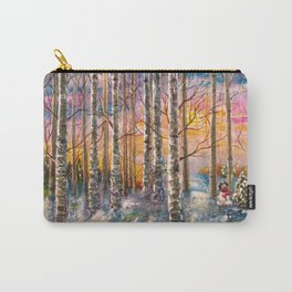 Winter Sunset Landscape Impressionistic Painting With Palette Knife Carry-All Pouch
