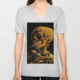 Van Gogh, Skull of a Skeleton with Burning Cigarette  – Van Gogh,Vincent Van Gogh,impressionist,post Unisex V-Neck