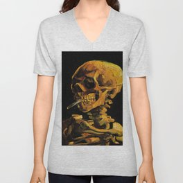 Van Gogh, Skull of a Skeleton with Burning Cigarette  – Van Gogh,Vincent Van Gogh,impressionist,post Unisex V-Neck