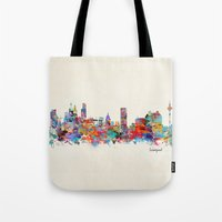 liverpool Tote Bags featuring liverpool city skyline by bri.buckley