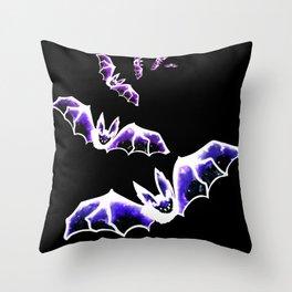Galaxy Bats Throw Pillow