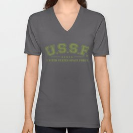 United States Space Force Army Green graphic USSF designs Ltd Unisex V-Neck