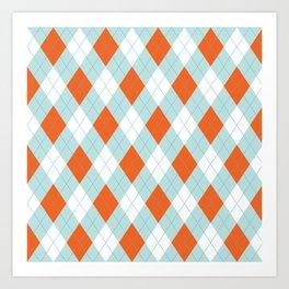 Aqua, Mint and Coral Orange Argyle Pattern Art Print