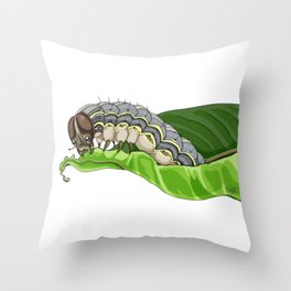 The Smol Hungry Caterpillar (Armyworm) Throw Pillow