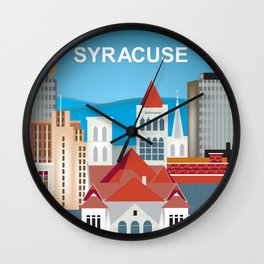 Syracuse, New York - Skyline Illustration by Loose Petals Wall Clock