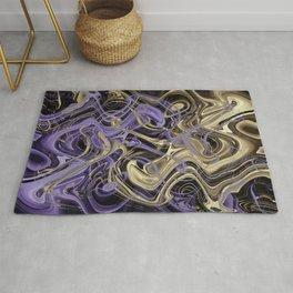 Gold & Ultra Violet Liquid Marble Love Rug