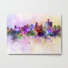 Detroit skyline in watercolor background Metal Print