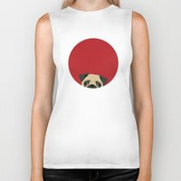 pug Biker Tanks featuring Pug by Anne Was Here