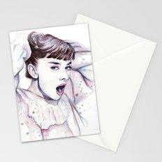 Audrey Hepburn Watercolor Actress Breakfast at Tiffanys Stationery Cards