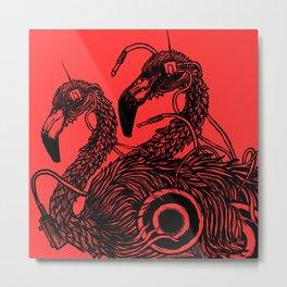 """Flamingos"" backgroundPink Metal Print"
