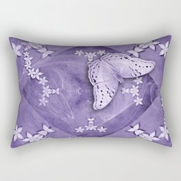 Flowers and butterfly with swirling fractal Rectangular Pillow