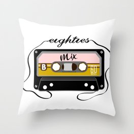 Eighties mix tape Throw Pillow