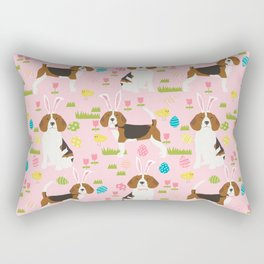 Beagle easter spring bunny eggs dog breed gifts for pure breed pet lover beagles Rectangular Pillow