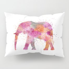 Artsy watercolor Elephant bright orange pink colors Pillow Sham