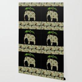 Elephant under a palm tree . Wallpaper