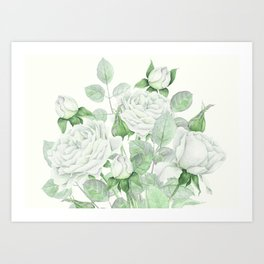 Bouquet Of Pastel Green Roses Art Print