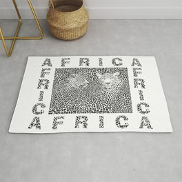 Background Leopard and text Africa Rug