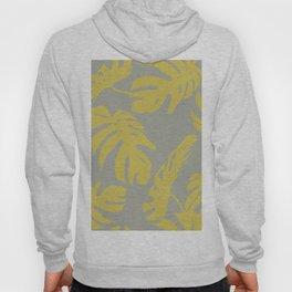 Simply Mod Yellow Palm Leaves on Retro Gray Hoody