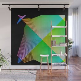 RGB (red gren blue) pixel grid planes crossing at right angles Wall Mural