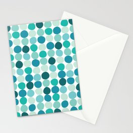 Midcentury Modern Dots Blue Stationery Cards