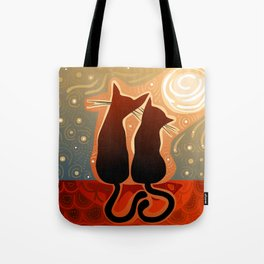 couple of cats in love on a house roof Tote Bag