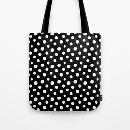 Minimal - white polka dots on black - Mix & Match with Simplicty of life Tote Bag