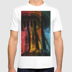 Colorful Space Needle White MEDIUM Mens Fitted Tee