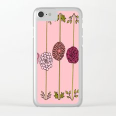Garden Flowers Illustration - in Pinks Clear iPhone Case