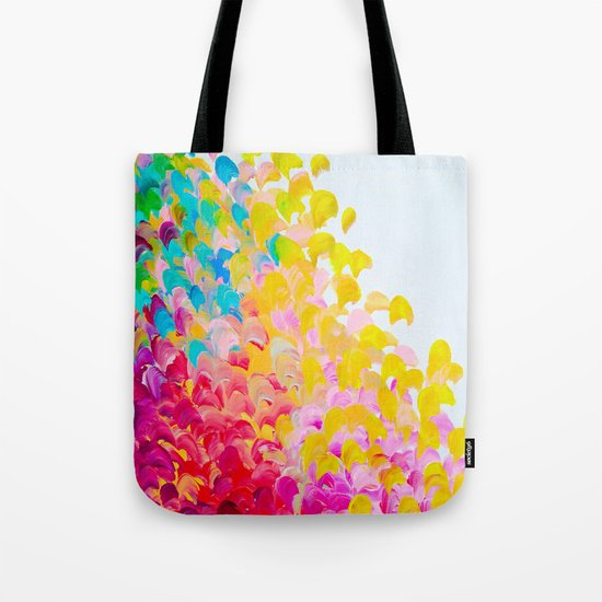 CREATION IN COLOR - Vibrant Bright Bold Colorful Abstract Painting Cheerful Fun Ocean Autumn Waves Tote Bag