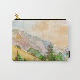 Landscape with mountains and blue sky painted by watercolor Carry-All Pouch