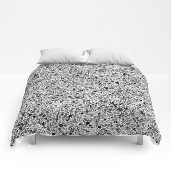 black and white floral comforters by carly rae studio society6. Black Bedroom Furniture Sets. Home Design Ideas