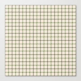 Fern Green & Sludge Grey Tattersall on Cream Background Canvas Print