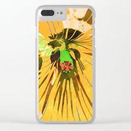 Lemon Yellow Hibiscus Flower Watercolor Portrait Clear iPhone Case