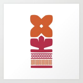Nordic Orange Flower Art Print
