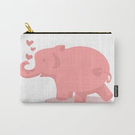 Pink Elephant in Love Carry-All Pouch