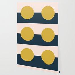 Horizon. Mustard Yellow Sun Dot on Pale Blush Pink and Navy Blue Color Block. Minimalist Geometric Wallpaper