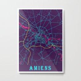Amiens Neon City Map, Amiens Minimalist City Map Art Print Metal Print
