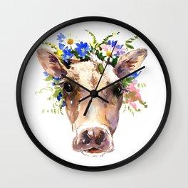 Cow Head, Floral Farm Animal Artwork farm house design, cattle Wall Clock