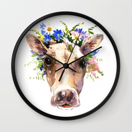 Cow Head, Floral Farm Animal Artwork farm house design, cattle Wall Clock
