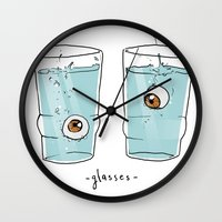 glasses Wall Clocks featuring Glasses by Abel Fdez