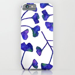 Ginkgo Leaves Watercolor Indigo on white iPhone Case