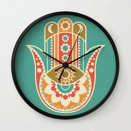 Colorful Hamsa Hand Wall Clock