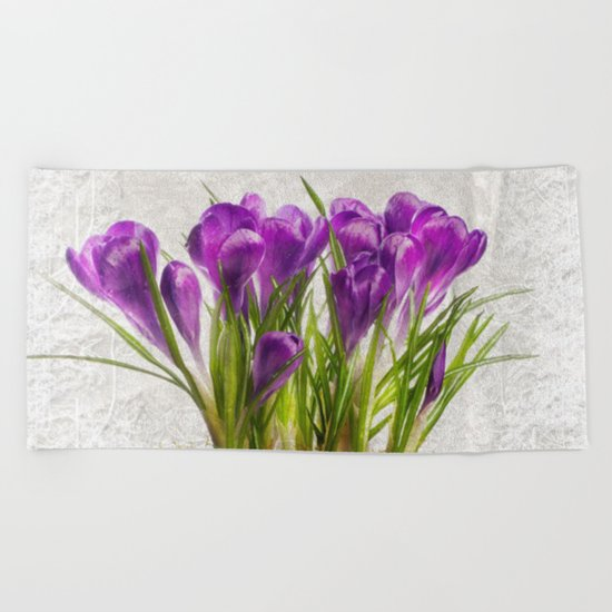 Spring purple flower Beach Towel