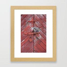 Red Barn Door Framed Art Print