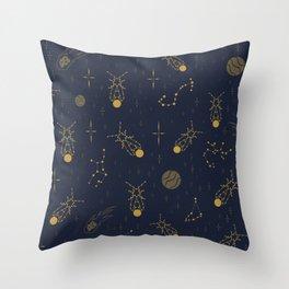 Golden Fireflies Constellations Throw Pillow