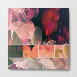 Blush and Persimmon Abstract Rose Pattern Metal Print