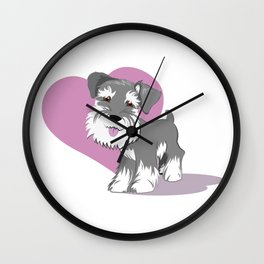 Miniature Schnauzer Puppy Dog Adorable Baby Love Wall Clock