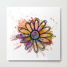 GC031-2 Colorful watercolor doodle flower mustard and purple Metal Print