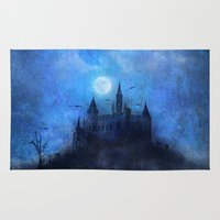castle in the sky Area & Throw Rugs featuring Mystical castle by pinopics