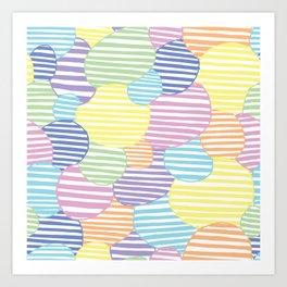 Circled Pastel Lines Art Print